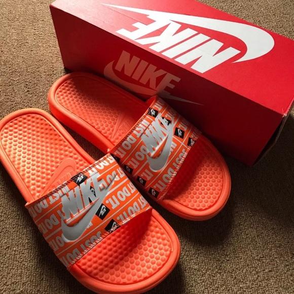 3784418f2056 Nike Benassi Just Do It Print Slides Total Orange.  M 5bdca07f5c4452f01565b62b